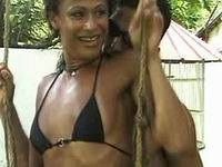 Tiny tits ebony tranny fuck outdoor