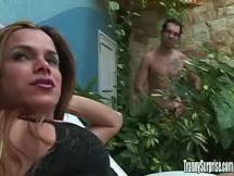 Fiery love between pretty shemale and dude near pool