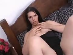 Longhaired pretty shemale fucking with guy on bed