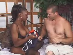 Black super sexy tranny stuffs asshole of stud