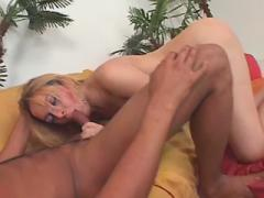 Blond ts slut blows guy and gets some assnailing