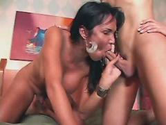 Two appetizing shemales blows hard dick each other
