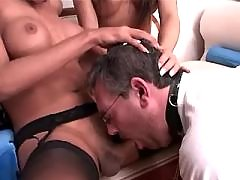 Four horny shemales spoil poor dude
