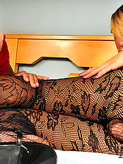 Sultry blonde tgirl in pantyhose hardcore