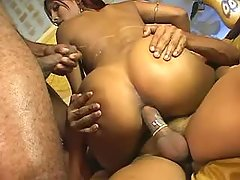 Hot lusty shemale fucks man outdoor