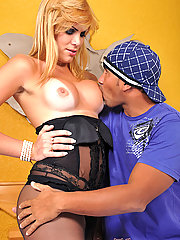Pantyhose clad shemale gets a big cock