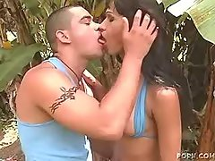 Lustful ebony shemale jumps on dick