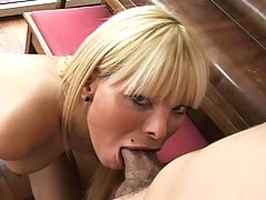 Hot blonde transsexual fucked by dude until they both cum