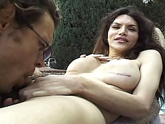 Horny tranny sucked by the poolside by some nice random guy
